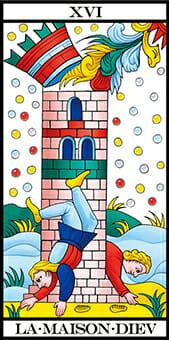 Tarocchi di Marsiglia La Casa Dio La Torre La Maison Diev Tarot RWS