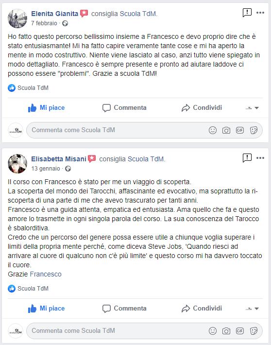 Testimonianza Facebook corso Tarocchi