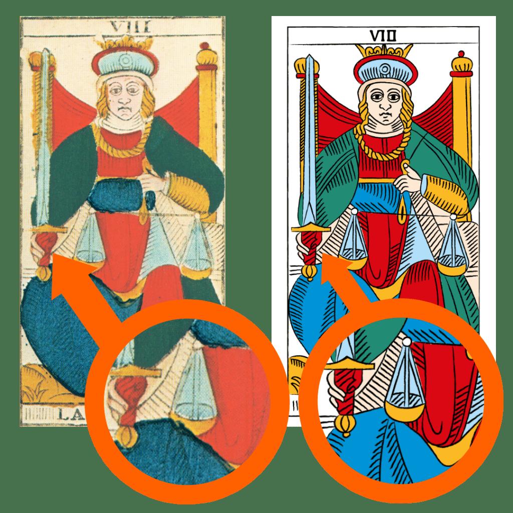 Tarocchi di Marsiglia Francesco Guarino La Giustizia Dettaglio