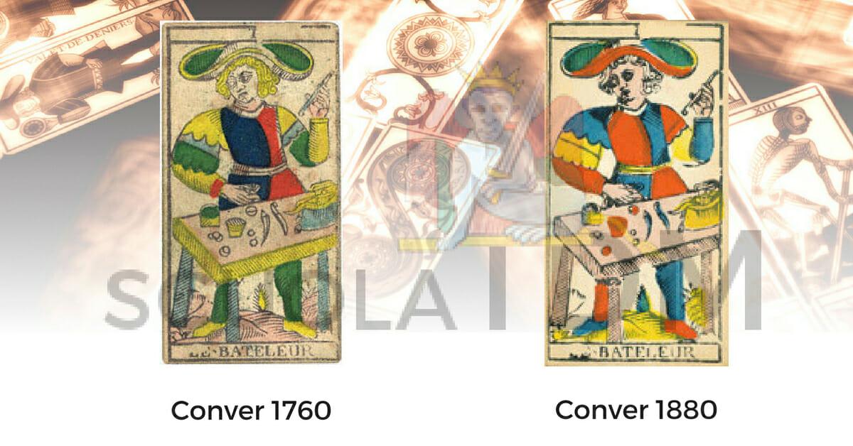 Le Bateleur Il Bagatto Nicolas Conver 1760 Nicolas Conver 1880 Tarocchi di Marsiglia