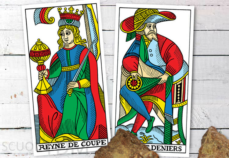 Regina Di Coppe e Re Di Denari Cartomanzia Tarocchi Di Marsiglia
